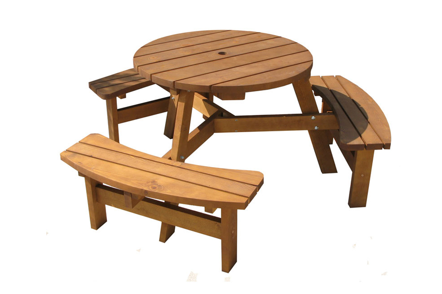 Round Picnic Tables - 8 seater round picnic table