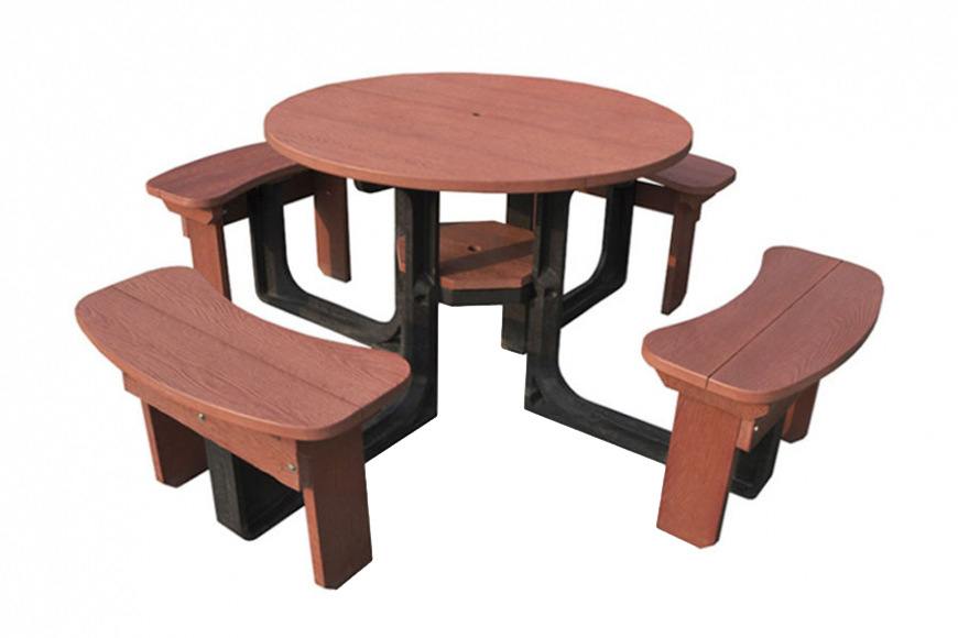 schools 8 seater picnic table - red