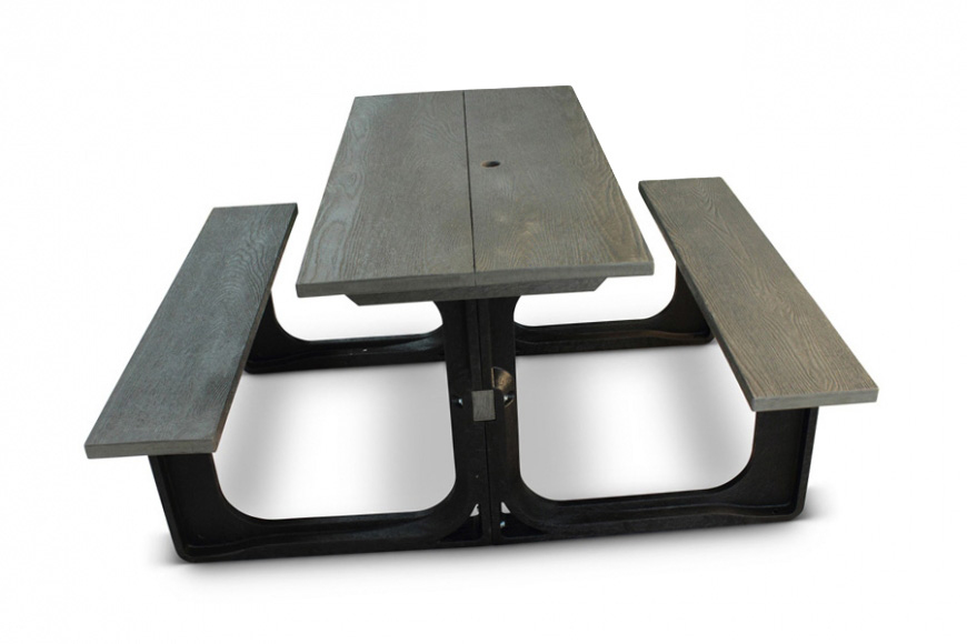 Small Rectangular Picnic Table-Grey