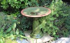 Ceramic Bird Bath with Pedestal