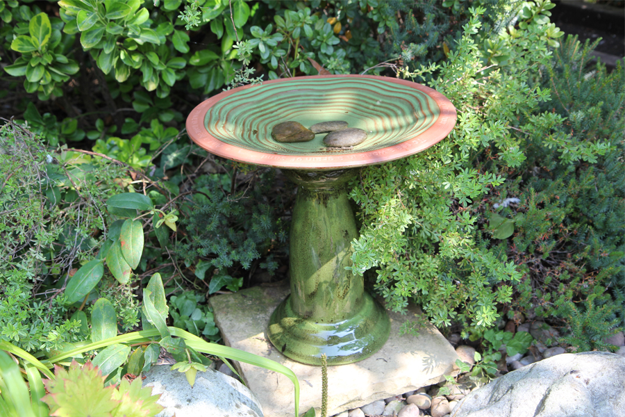 Ceramic Bird Bath With Pedestal