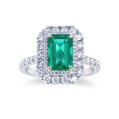 Emerald Halo Cluster Ring