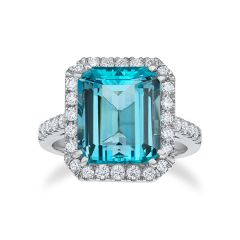 Aquamarine Halo Ring