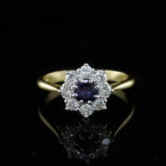 Sapphire& Diamond cluster Ring
