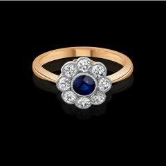 Edwardian Sapphire Cluster Ring
