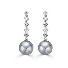 Grey Tahitian Pearl & Diamond Earrings