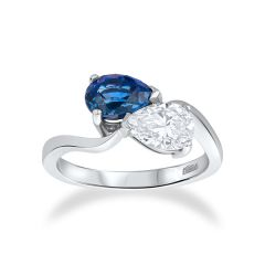 Duet                                                          Sapphire and diamond Ring