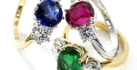 Coloured Gem Rings