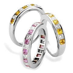 Channel Set Sapphire And Diamond Eternity Rings
