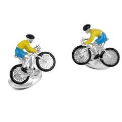 Luxury Silver & Enamel Racing Cyclist Cufflinks