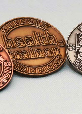 Antiqued Stamped Metal Badges