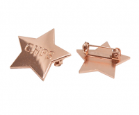 Stamped metal badge with copper plating