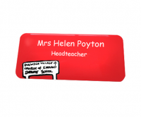 Printed name badge with a domed finish