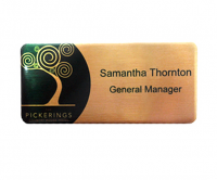 Brushed gold printed name badges