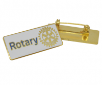 White enamel Rotary badge with Brooch pin