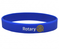 Printed Rotary on blue silicone wristband