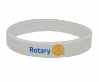 Printed Rotary on white silicone wristband