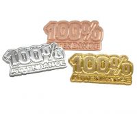Attendance award badges, in gold silver and bronze finish