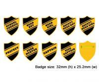 Shield school badges, Black enamel gold plated