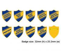 Shield school badges, Blue enamel gold plated