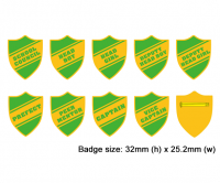 Shield school badges, Green enamel gold plated