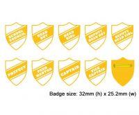 Shield school badges, White enamel gold plated