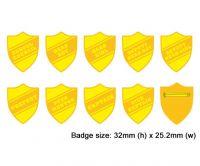 Shield school badges, Yellow enamel gold plated