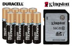 16GB memory card and 8 AA Batteries