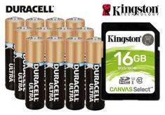 16GB memory card and 12 AA Batteries