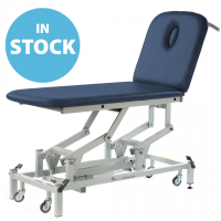 Dark Blue Electric Medicare 2 Section Couch with Breathing Hole & Paper Roll Holder (In Stock)