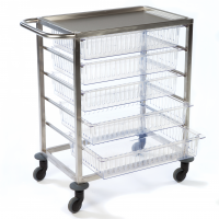 Stainless Steel 5 Drawer Mobile Trolley