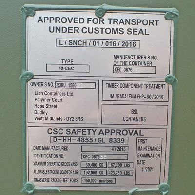 Container CSC Plate