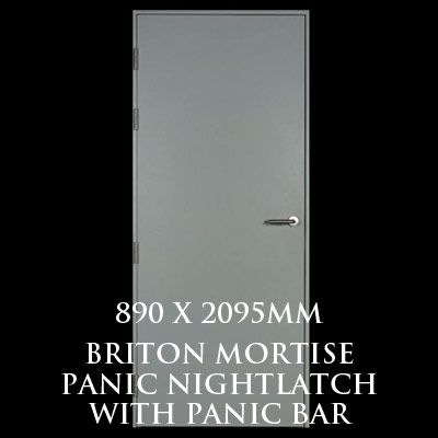 890 x 2095mm Blank Single Personnel Door (Briton Mortise Panic Nightlatch with Panic Bar)