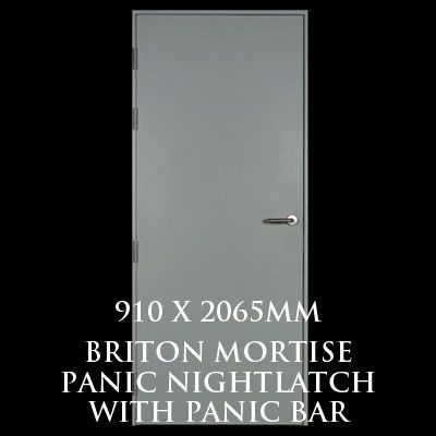 910 x 2065mm Blank Single Personnel Door (Briton Mortise Panic Nightlatch with Panic Bar)