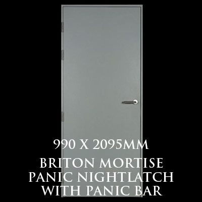 990 x 2095mm Blank Single Personnel Door (Briton Mortise Panic Nightlatch with Panic Bar)