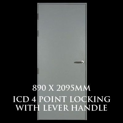 890 x 2095mm Blank Single Personnel Door (ICD 4 Point Locking Lever Handle)