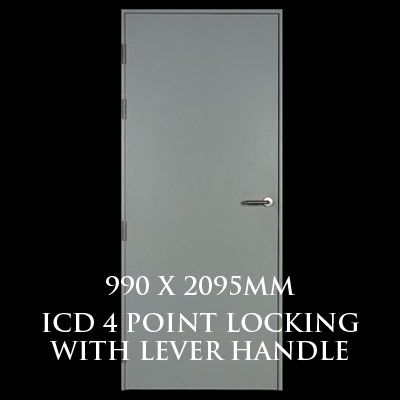 990 x 2095mm Blank Single Personnel Door (ICD 4 Point Locking Lever Handle)