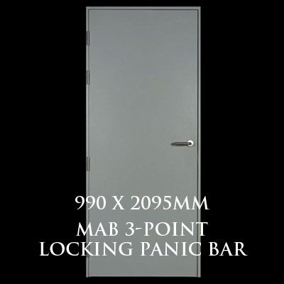 990 x 2095mm Blank Single Personnel Door (MAB 3 Point Locking Panic Bar)