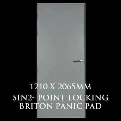1210 x 2065mm Blank Single Personnel Door (Sin 2 Point Locking Briton Panic Pad)