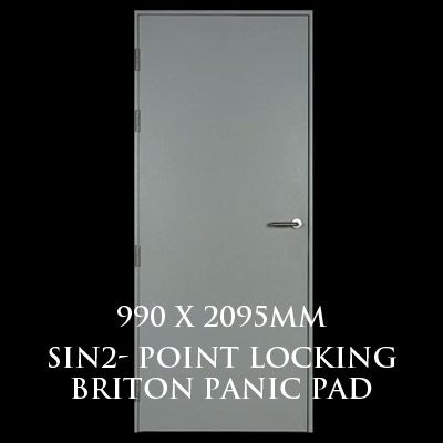 990 x 2095mm Blank Single Personnel Door (Sin 2 Point Locking Briton Panic Pad)