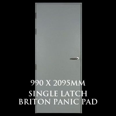 990 x 2095mm Blank Single Personnel Door (Single Latch Briton Panic Pad)