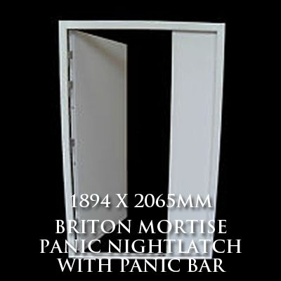 1894 x 2065mm Blank Double Personnel Door (Briton Mortise Panic Nightlatch with Panic Bar)