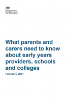 FREE Download What parents and carers need to know about early years providers, schools and colleges February 2021