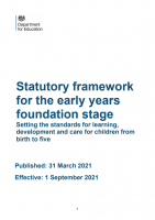 2021 Statutory Framework For The Early Years And Foundation Stage