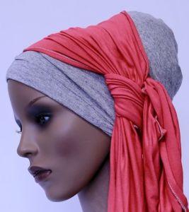 ELIARE headwear GREY block tails colour variations AQUA, CORAL, PEACH, NAVY, BLACK