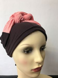 ELIARE headwear BROWN , block colour tails colour variations TAUPE AQUA CORAL PEACH