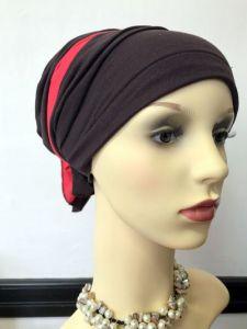 ELIARE headwear BROWN , stripe colour tails colour variations TAUPE AQUA CORAL PEACH