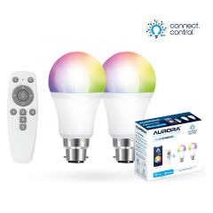 Aurora AOne Connect AU-A1BTGBCWK Bluetooth 8W RGBCX B22 Bayonet GLS LED Lamp Starter Kit