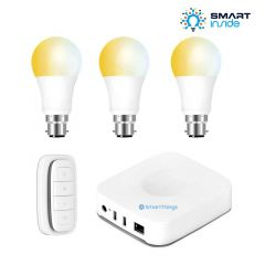 Aurora AOne Smart Lighting Starter Kit - 3 x White Tuneable BC/B22 Lamp, 1 x Smart Remote & Samsung SmartThings Hub