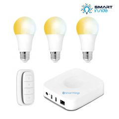 Aurora AOne Smart Lighting Starter Kit - 3 x White Tuneable ES/E27 Lamp, 1 x Smart Remote & Samsung SmartThings Hub